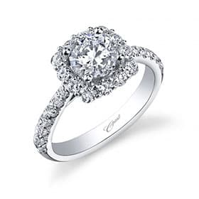 Coast Pave Halo Diamond Engagement Ring in 14K White Gold