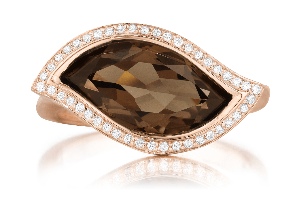 Smoky Quartz and Diamond Pave East-West Leaf Ring