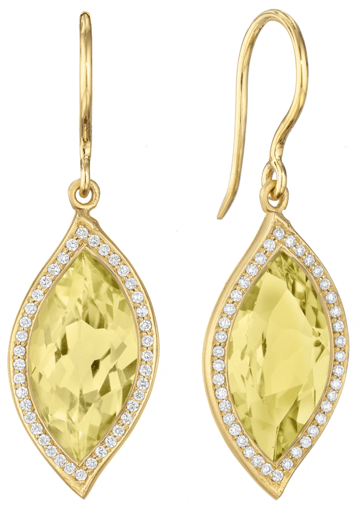 Lemon Quartz and Diamond Pave Leaf Earrings