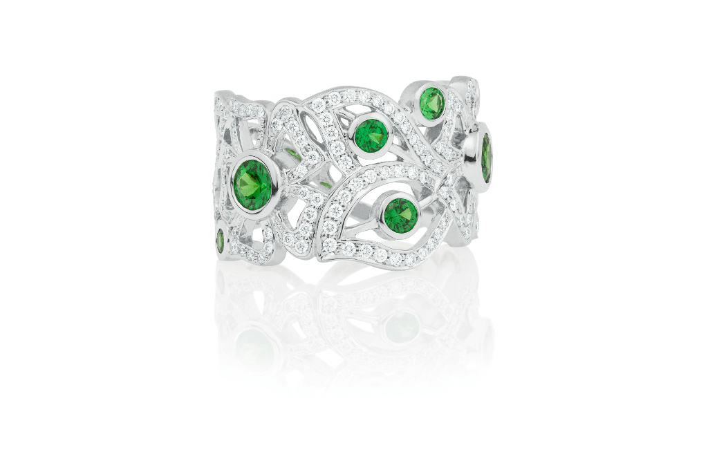 Emerald & Diamond Pave Florette Band